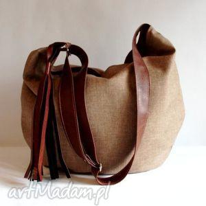 hobo, worek, pojemna torba, duża brązowa modna