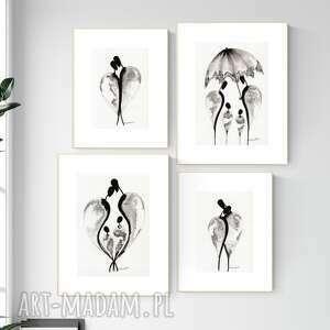 zestaw 2 grafik wykonanych ręcznie, grafika czarno-biała, abstrakcja, 2585898