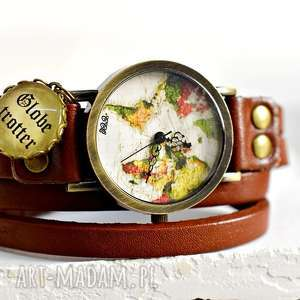 Obieżyświat zegarek z prawdziwej skóry, glob, mapa, świat, podróże, skóra, brąz