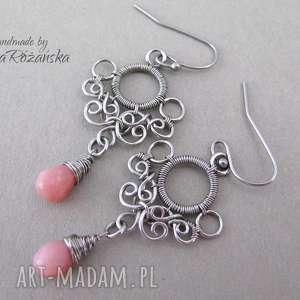 agata rozanska kolczyki z opalem różowym, wire wrapping, kolczyki, wrapping