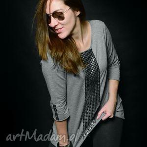 bluza szara taśma dekoracyjna - handmade oversize, bluza, szara, taśma