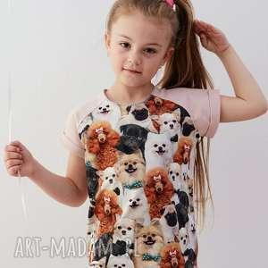 Bluzeczka PUPPIES, bluzeczka, top, pieski, buldożki, pudrowyróż, dziewczynka