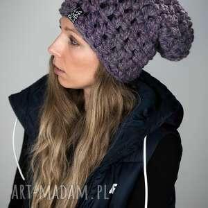 czapka fatty 29 - fioletowy melanż czapa gruba ciepła, grubaśna, prezent