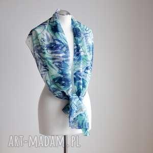 handmade szaliki jedwabny malowany szal - turkusy i mięty