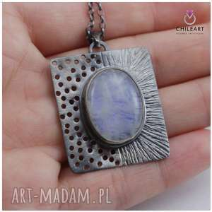 hand made wisiorki kamień księżycowy i srebro - wisiorek na łańcuszku