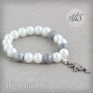 Jaszczurka z perłami - ,perły,srebrna,zawieszka,jaszczurka,elegancka,gumka,