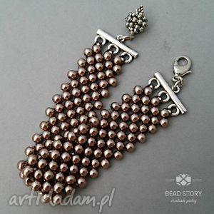 Bransoletka z perełek nr 6, perełki, perły, koraliki, szkło, elegancka, klasyczna