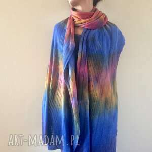 kolorowy milusi wełniany szal, szalik, wełna, dzianina, ręcznie barwiony