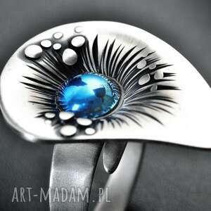 srebrny pierścionek z tytanem, regulowany inspirowany naturą