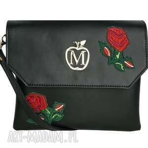 manzana listonoszka z naszywkami czarna róże, torebka, torebki, damska
