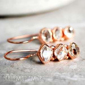 925 18k różowo pozłacane kolczyki diamenty herkimer - złote