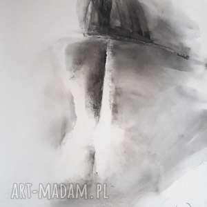 nude 70x80, duży-obraz-kobieta, czarno-biała-grafika, kobieta-rysunek, rysunek-węglem