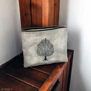 etui lniana kosmetyczka organizer piórnik z drzewem bodhi, len, surowa, prezent