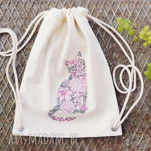 floral cat - ,plecak,worek,kot,vintage,kwiaty,haft,