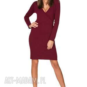 Elegancka sukienka z kopertowym dekoltem T215, bordo, sukienka, elegancka, dzianina