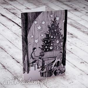 hand-made prezenty pod choinkę %wiąteczny las... karteczka na życzenia