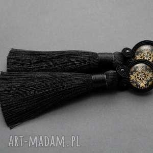 kolczyki sutasz z chwostami, sznurek, eleganckie, wiszące, wieczorowe, długie, chwost