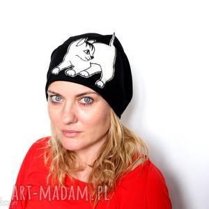 hand-made czapki czapka dresowa damska wiosenna z kotem