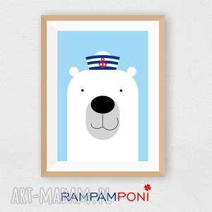 plakat dla dzieci miś majtek a4 - miś, marynarski, dziecko, pokoik, ozdoba