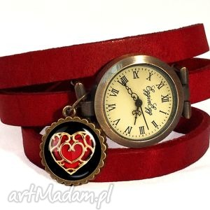 serce - zegarek bransoletka na skórzanym pasku egginegg, walentynki