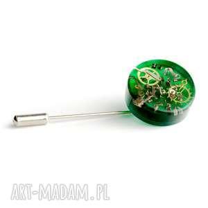 męska pin - mechanical green, pin, trybiki, unikat