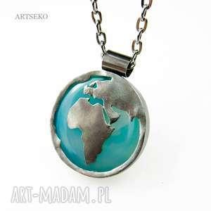 Prezent a485 Jedna strona świata - wisior srebrny , wisiorsrebrny, medalionsrebrny