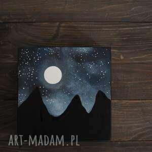 góry - pudełko drewniane ręcznie malowane 15x15cm, góry, górskie, noc, księżyc