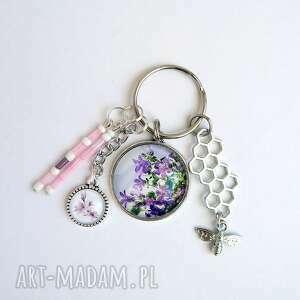 breloki breloczek - fioletowy kwiat, lilia, breloczek, do kluczy, kwiaty