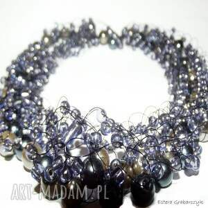 fioletowa żyłka - kolia, perły, fiolet, naszyjnik, pojedynczy