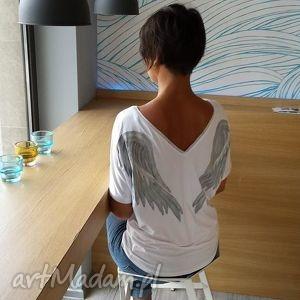 Bluzka Skrzydła / White Angel, skrzydła, bluzka, anioł, onesize, rękaw, malowanka
