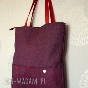 Fioletowa torba z kieszenią, torba, hobo, kotki, pojemna, modna, miejska