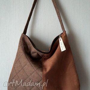 handmade na ramię torba hobo z łączonych materiałów
