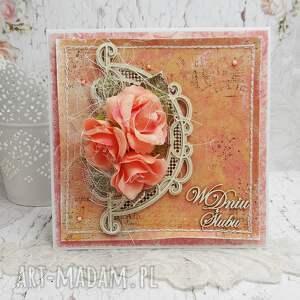 ręczne wykonanie scrapbooking kartki w dniu ślubu - w pudełku