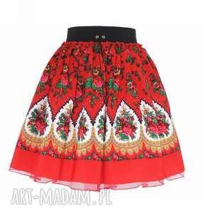 Czerwona spódnica góralska folkowa cleo z tiulem , spódnica, folkowa, cleo, ludowa