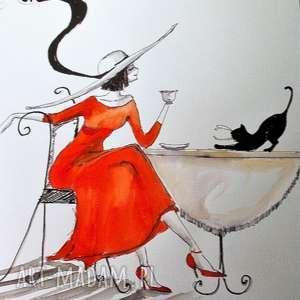 akwarela i piórko dama z kotem artystki plastyka adriany laube, akwarela, kotek
