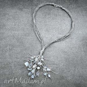 Naszyjnik lniany - biały opalit naszyjniki galeria nuit opal