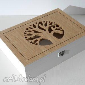 DRZEWO - drewniana skrzynka dekoracyjna, biała, drzewo, przedpokój,