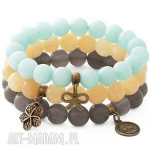 blue, gray, honey set, jadeit, agat, kokardka, kwiatek, moneta