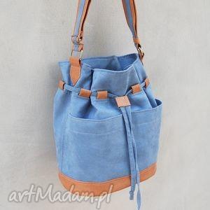 handmade na ramię yocca - torba worek - jasnoniebieska