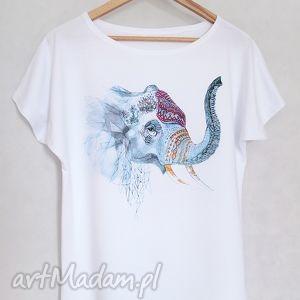 słoń koszulka bawełniana s m biała, koszulka, bawełna, nadruk, słoń, tshirt, bluzka