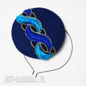 filemonka niebieska, fascynator, filc, niebieski, turkus