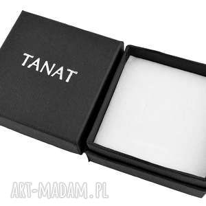 pracownia tanat czarne pudełko ze srebrnym logo tanat, pudełko, biżuteria, eleganckie
