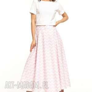 spódnica midi z tkaniny bawełnianej, t313, biało - różowy zygzak