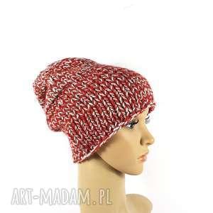 gruba czapka unisex melanż zrobiona na drutach, zimowa, gruba, wełniana