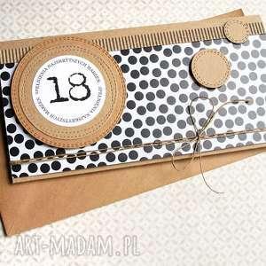 ręcznie robione kartki kartka-kopertówka: 18-te urodziny:: b&w