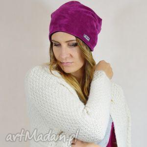 welurowa czapka - fuksja, welur, welurowa, zimowa, jesienna