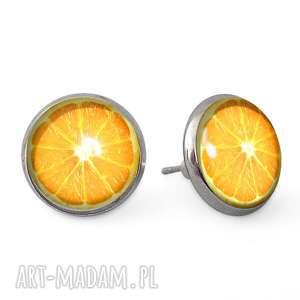 pomarańczki - kolczyki wkrętki - pomarańczowe kolczyki, pomarańcza