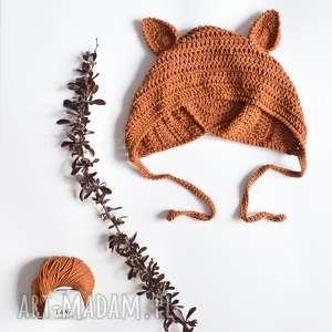 czapka lis bawełniana dziecięca, czapka, baełniana, wiązana