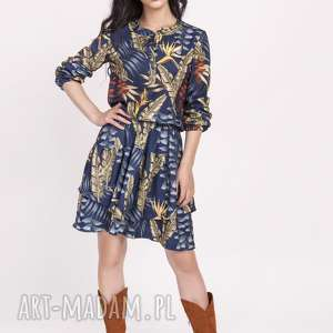 sukienka z falbanką, suk174 liscie granat, falbanka, liście, sukienka, modna