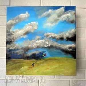 chłopiec z latawcem - obraz ręcznie malowany - do pokoju dziecka prezent